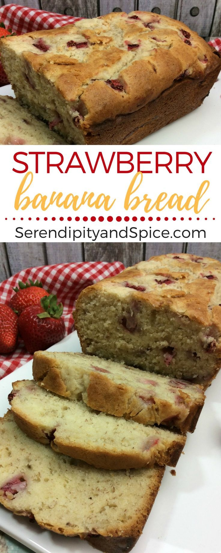 The sweet taste of banana bread with the tart addition of strawberries makes this Strawberry Banana Bread an easy recipe perfect for breakfast or dessert!#banana #strawberry #bananabread #baking #recipe #breakfast #snack