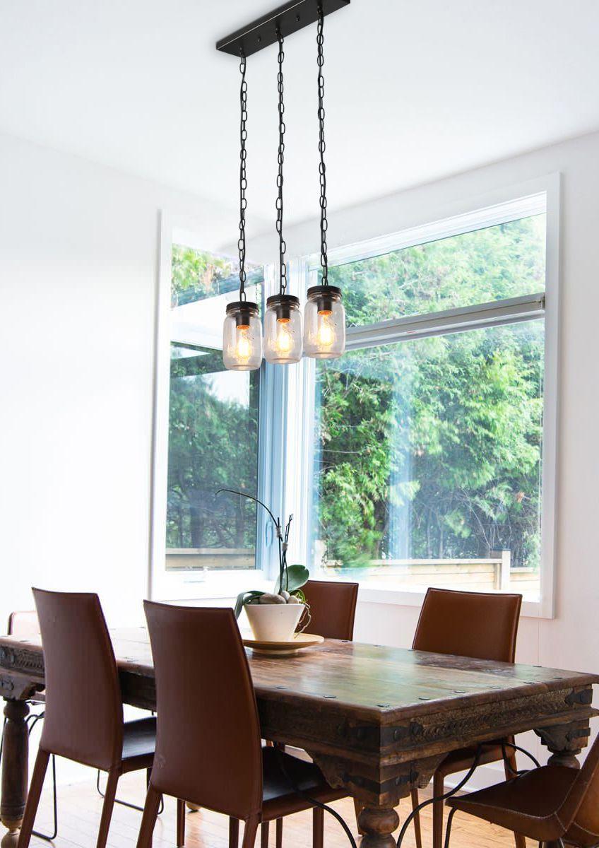 LNC 3-Light Linear Chandelier Lighting Glass Jar Kitchen Island ...