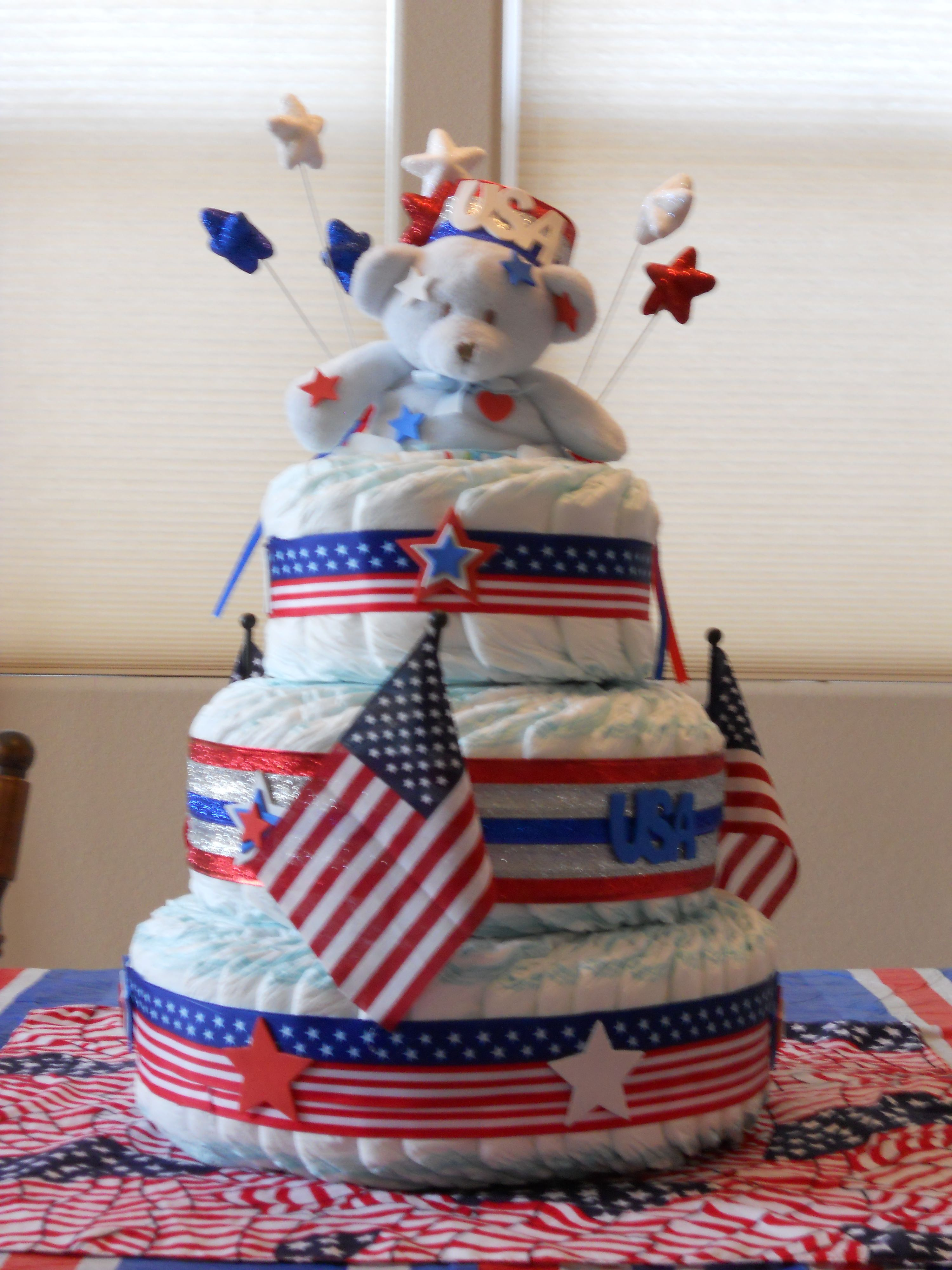4th Of July Diaper Cake In 2019 Baby Shower Cake Pops