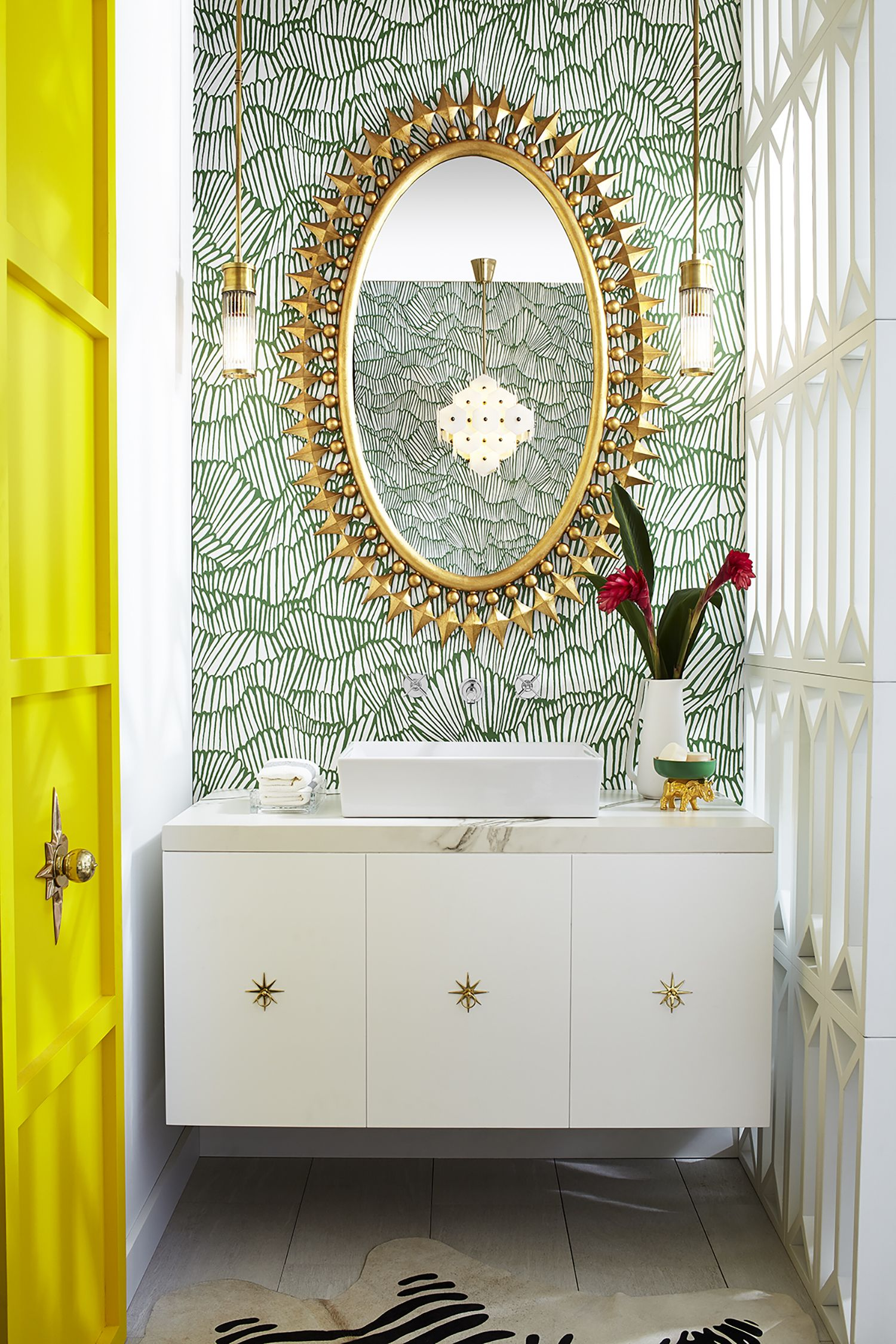 For more quick, quirky design elements, Pulp Design Studios paired our Pop Rectangle Vessel Lavatory and Percy Wall Mounted Vessel Faucet with a custom vanity with starburst pulls and the bold Wellington Mirror by @emporiumhome | countertop by @Dekton_