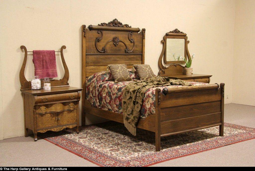 Oak Victorian 1900 Antique 3 Pc Bedroom Set Full Size Bed