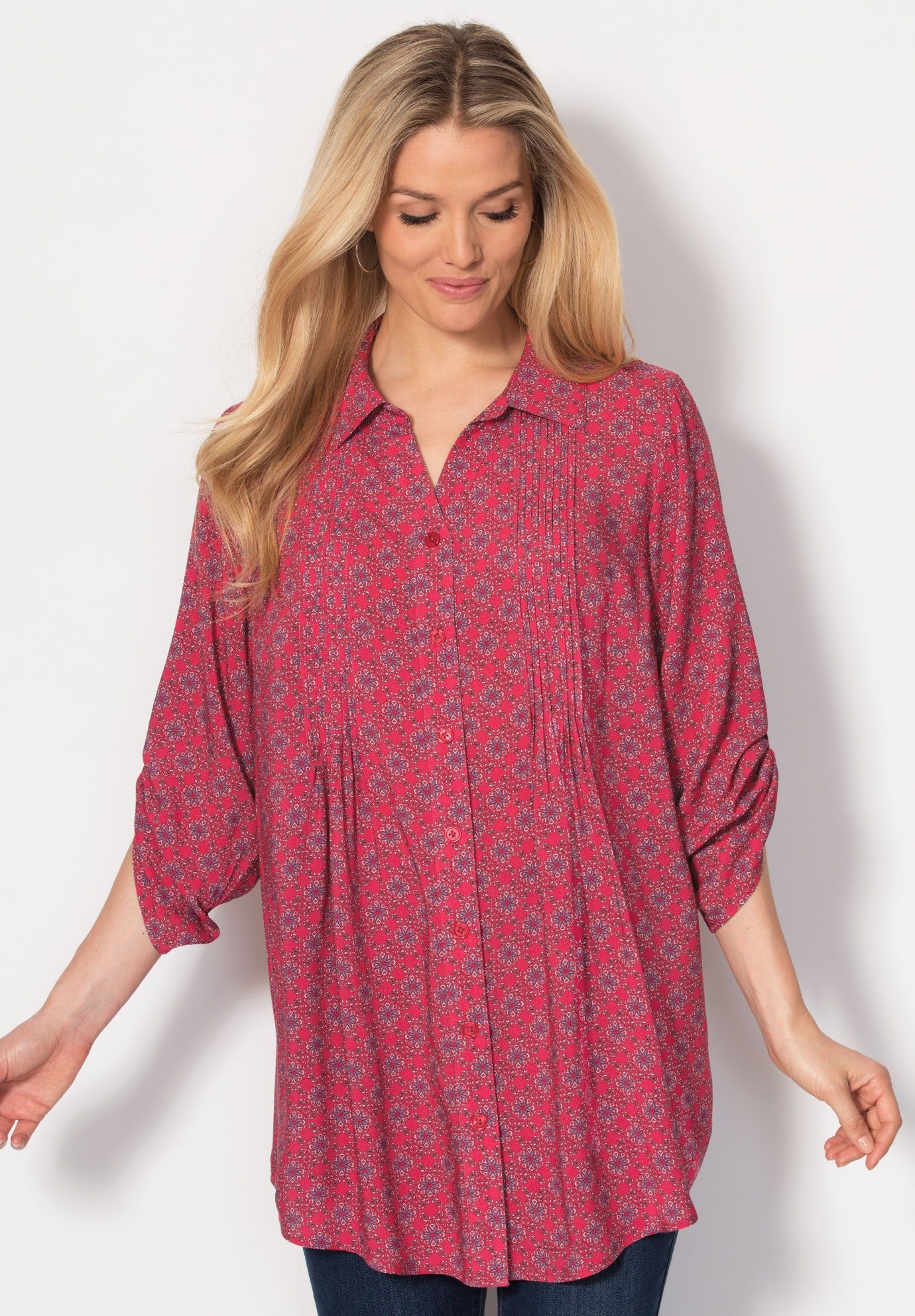 a13dfa18142 Tunic top with button-tab convertible sleeves