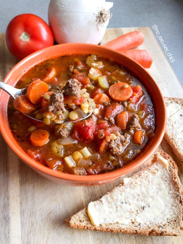 Hamburger Lentil Soup No Excuses Nutrition Recipe Soup With Ground Beef Lentil Soup Recipes Hamburger Soup