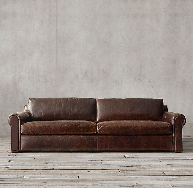 Rh S Lancaster Leather Sofa Simply Evolutionary All The Deep Sink In Comfort