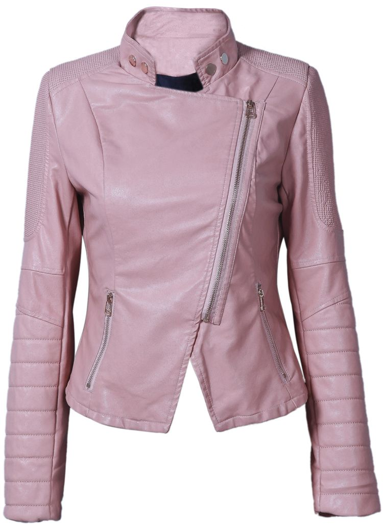 Pink Stand Collar Side Zipper Biker Jacket