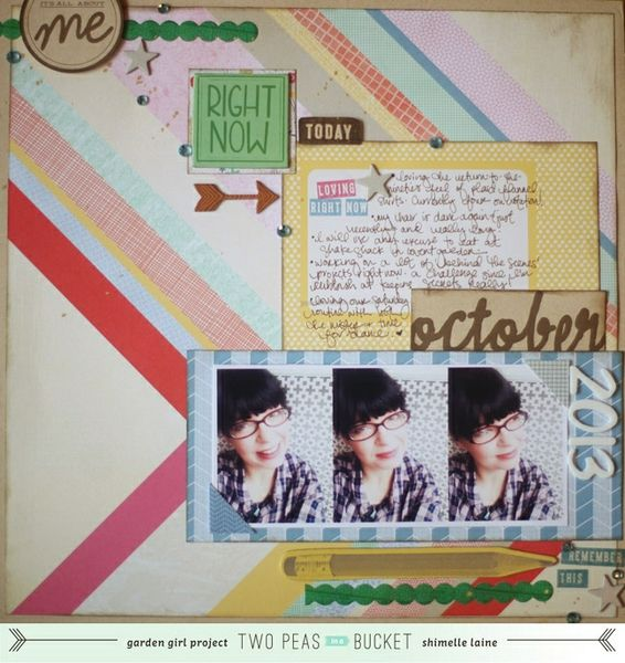 Glitter Girl Adventure 092: Personal Record Part 2 - Two Peas in a Bucket  Second of two episodes about scrapping yourself, this time featuring a current photo and making a 'right now' layout that captures your perspective of the world at a given time.  With supplies from Amy Tangerine Cut & Paste collection.