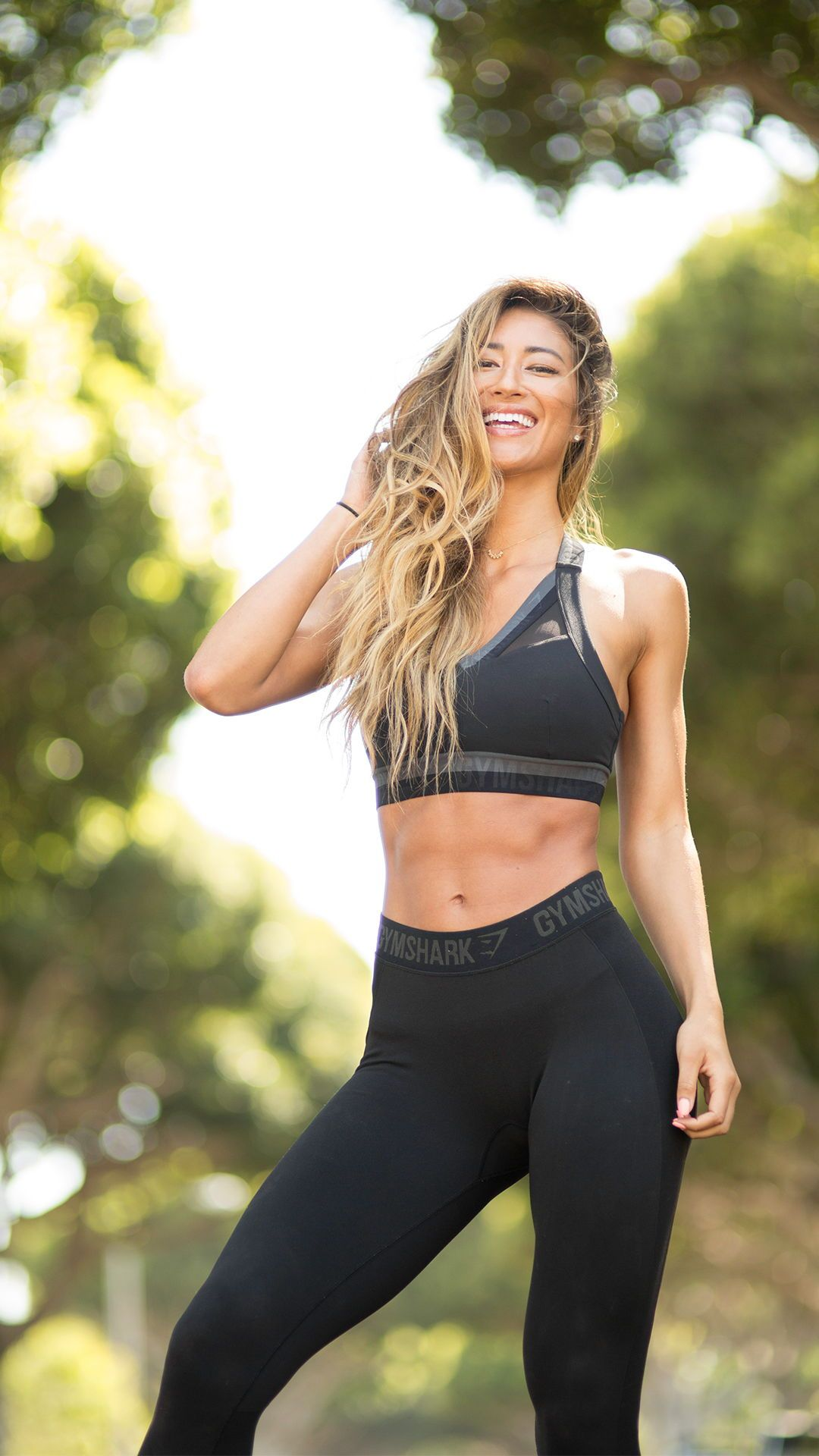 2400b68cb702c Karina Elle wearing the Empower Sports Bra teamed with the Flex Leggings in  Black Marl Black.  gymshark  gymsharkwomen  fitness