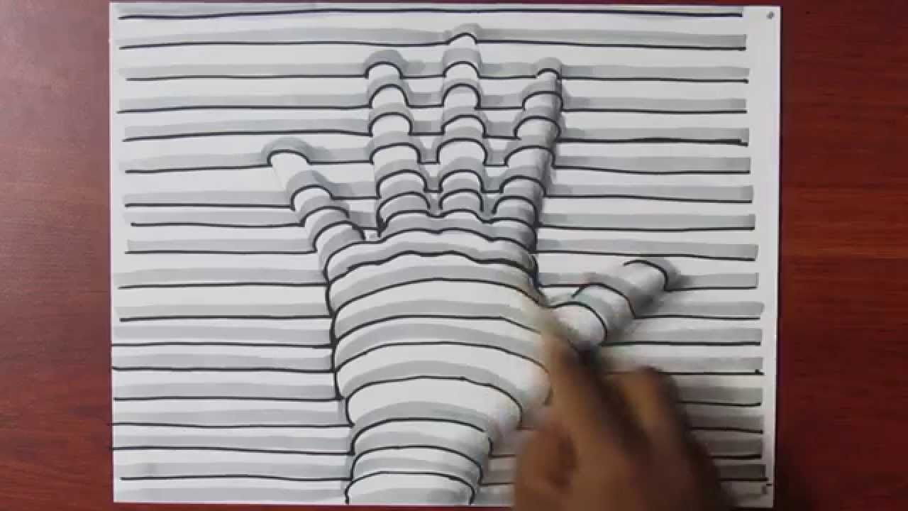 How To Draw A 3d Hand With Lines On Paper Easy Trick Art First Minute Is All You Need To Make It Look 3d Easy Drawings 3d Hand Drawings 3d Hand