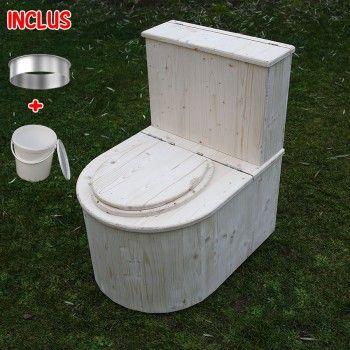 Toilette sèche avec réserve à copeaux de bois - La demie ronde V2 - construction toilette seche exterieur