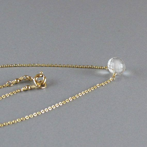 Tiny Rock Crystal Candy Kiss Briolette Solitaire 14k by DJStrang
