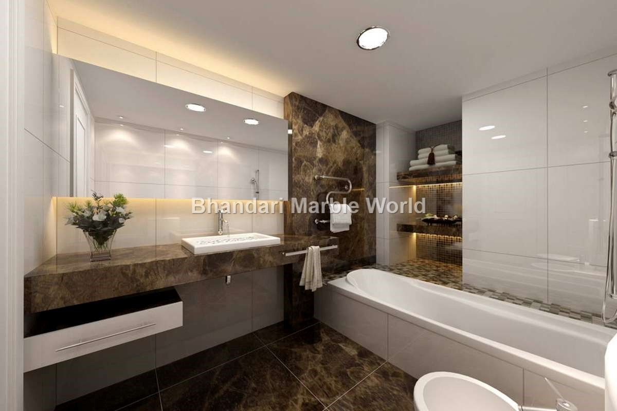 pin by bhandarimarble world on italian marble in delhi[bathroom] modern bathroom design with white marble stone sink corian stone shelf and wall decoration flower and vase custom shape nickel towel bar wide