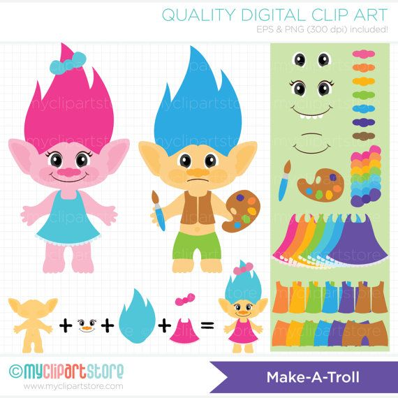 Vector Clipart - Make a Troll / Troll making kit, troll hair