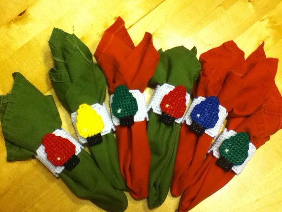 Plastic canvas Christmas napkin rings by were00 on Etsy, $2.50