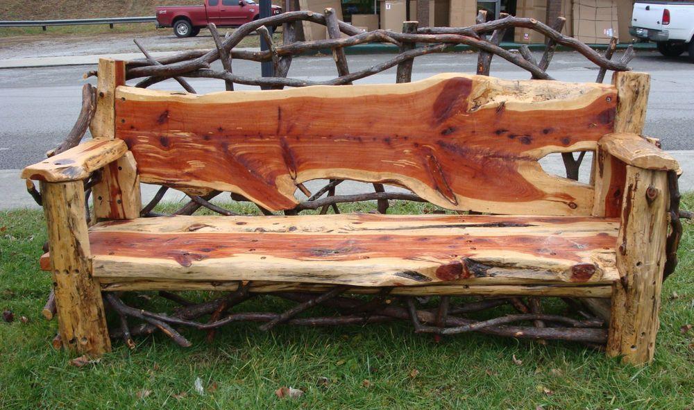 Mountain Laurel Handmade Cedar Outdoor Rustic Log Bench Home Garden Furniture Benches Stools Ebay