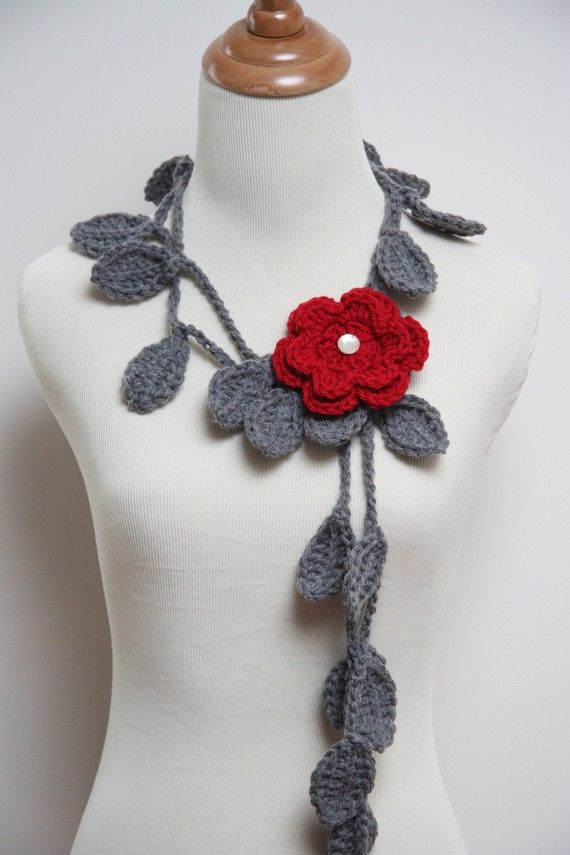 Crocheted Grey Leaf Necklace with Red Flower by HandmadeByLarrie ...