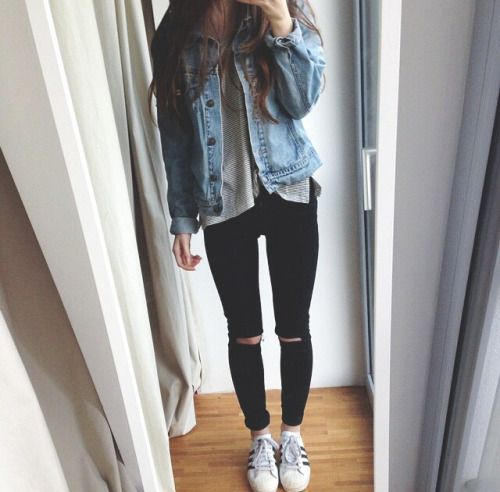 black ripped jeans white sneakers jean jacket and gray