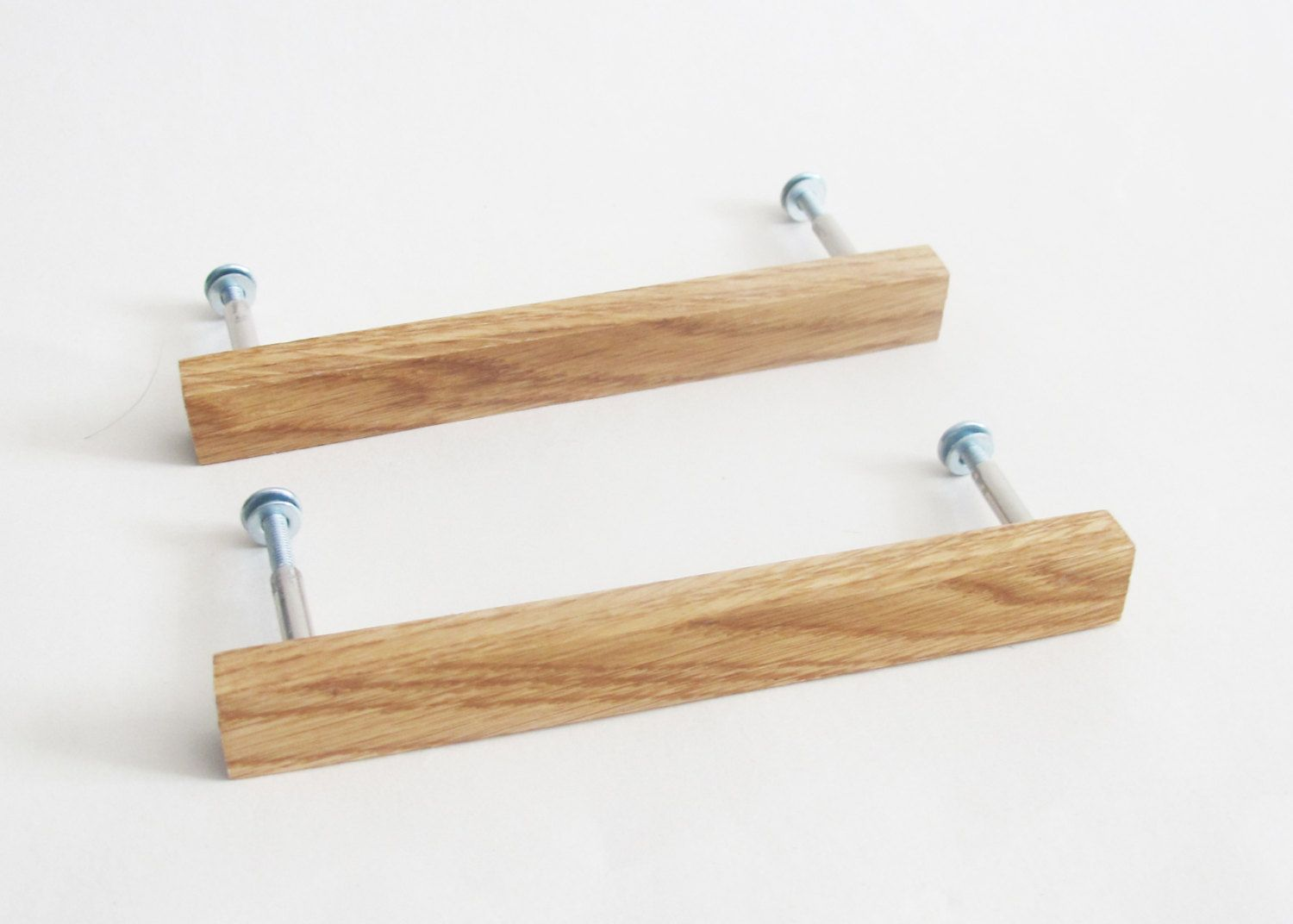 Wooden drawer pulls set of 2 oak wood drawer handles modern cabinet pulls rustic home decor by vishemir on etsy