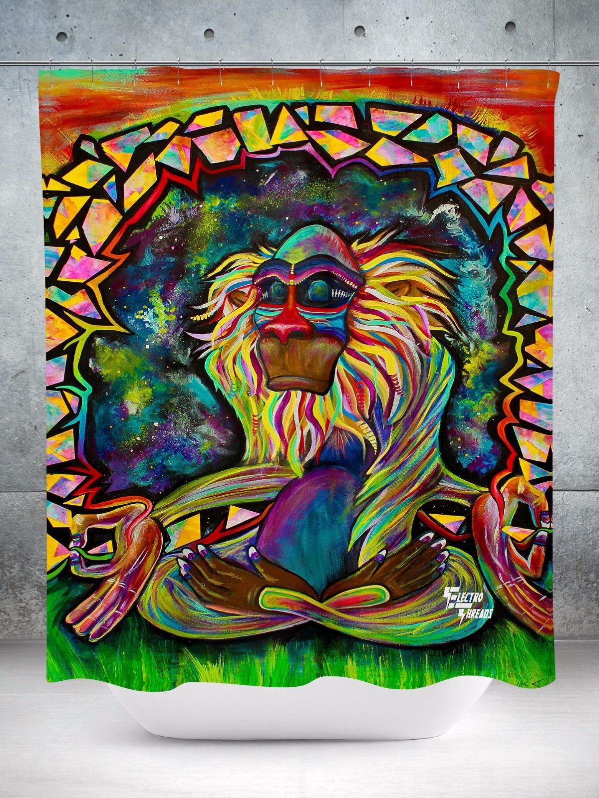 Meditating Rafiki Shower Curtain Hippie Painting Psychedelic