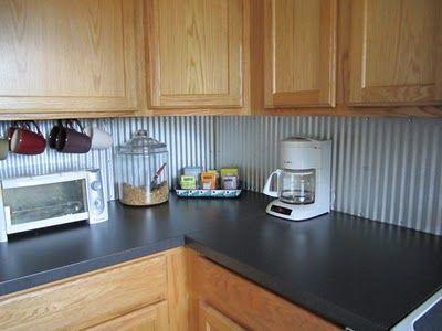budget kitchen update corrugated steel backsplash