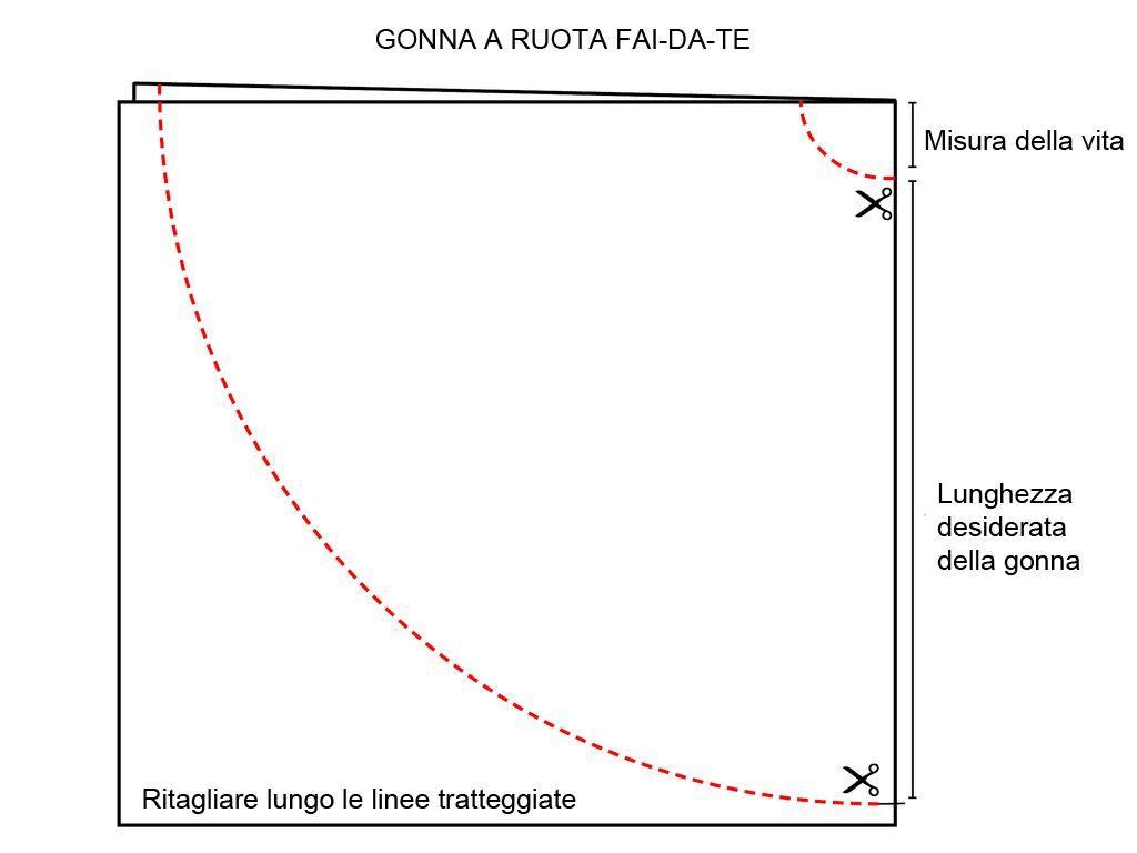 pretty nice 94732 f7cd2 Gonna a ruota fai-da-te | tutorial GONNA RUOTA | Gonne, Idee ...