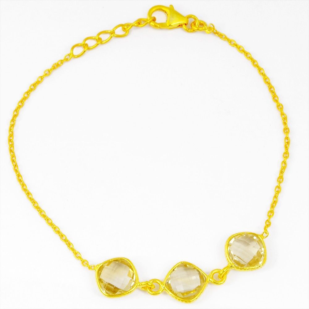 Orchid Jewelry 14k Yellow Gold Over Sterling Silver 6 Carat Citrine Bracelet (Gold Over Silver), Women's, Size: 7.5 Inch