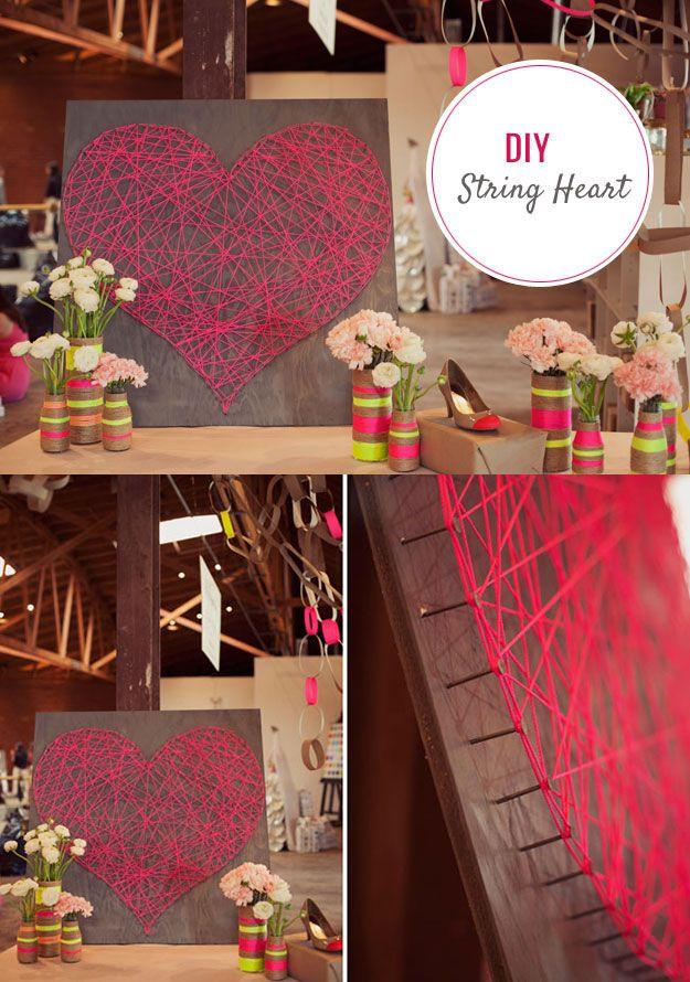 DIY String Art Heart Tutorial Cute DIY Bedroom Decor Ideas for