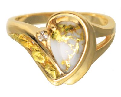 Pear shape Gold Quartz ring with Natural Gold Nuggets and Diamond