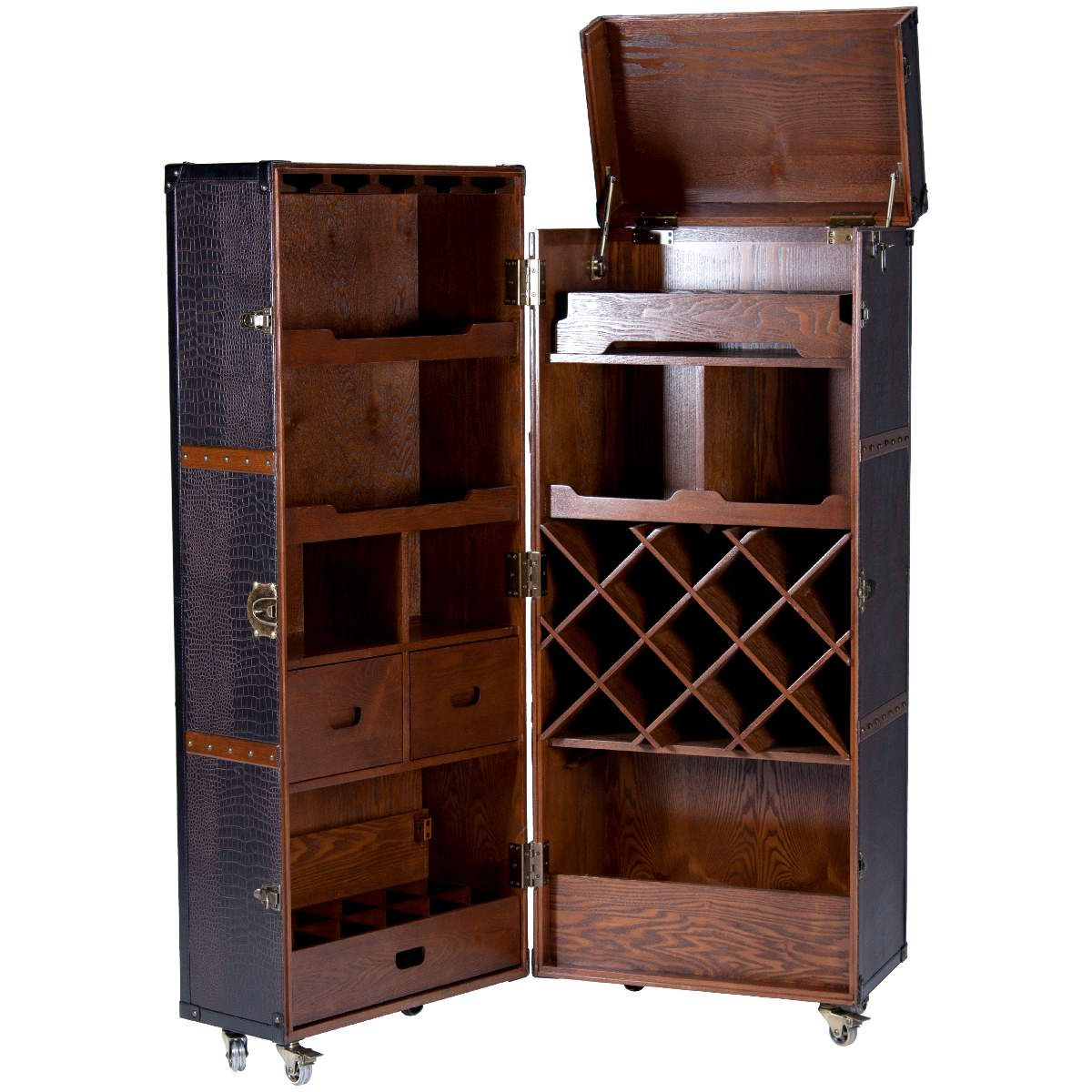 trunk style mini bar retro drinks cabinet inspired by ernest hemingway steamer trunk. Black Bedroom Furniture Sets. Home Design Ideas