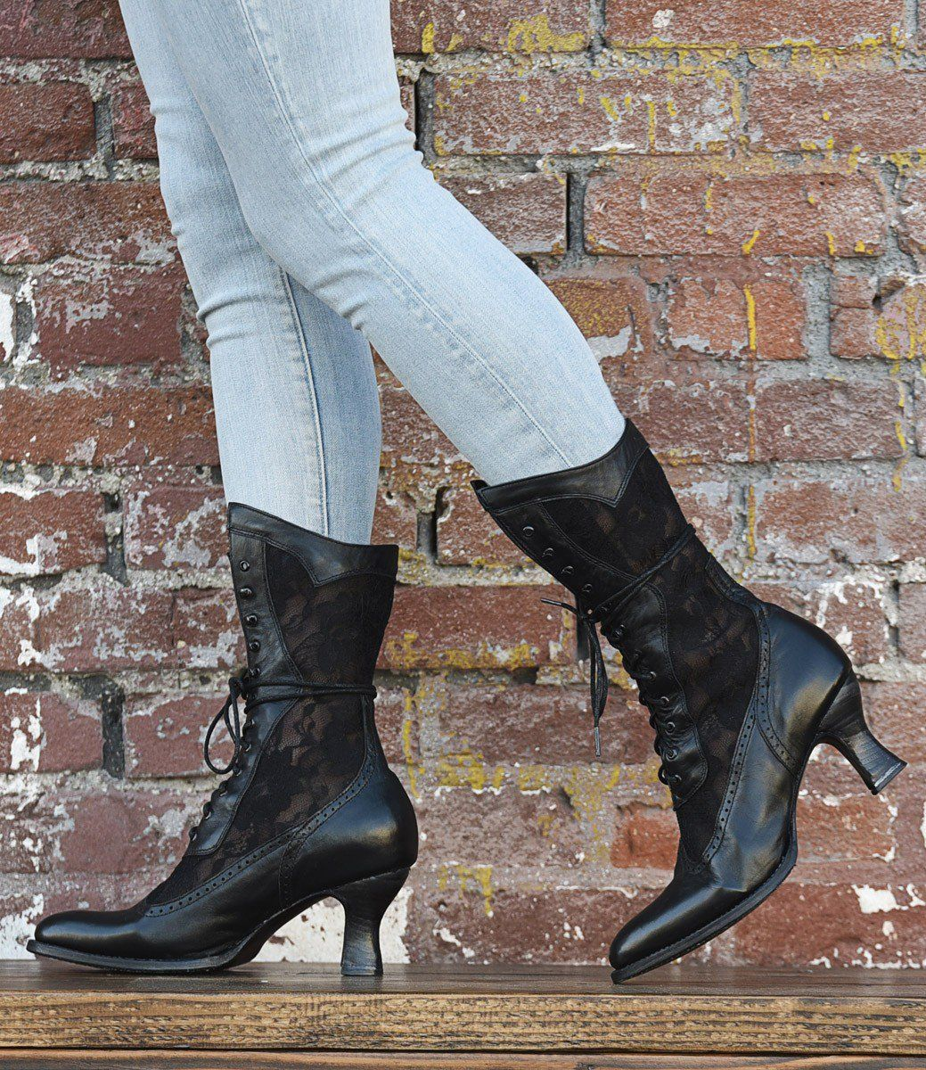 ce4a7de26ab Victorian Boots & Shoes – Granny Boots & Shoes Victorian Inspired Leather  Lace Boots in Black $265.00 AT vintagedancer.com