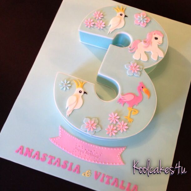 Pink number 3 cake with white flowers Perfect for a little