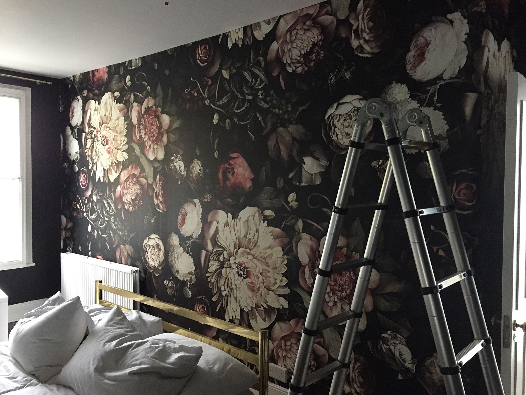 Black floral print wallpaper dark floral wallpaper by ellie cashman - Preciously Me Blog One Room Challenge Ellie Cashman Dark Floral Ii Wallpaper