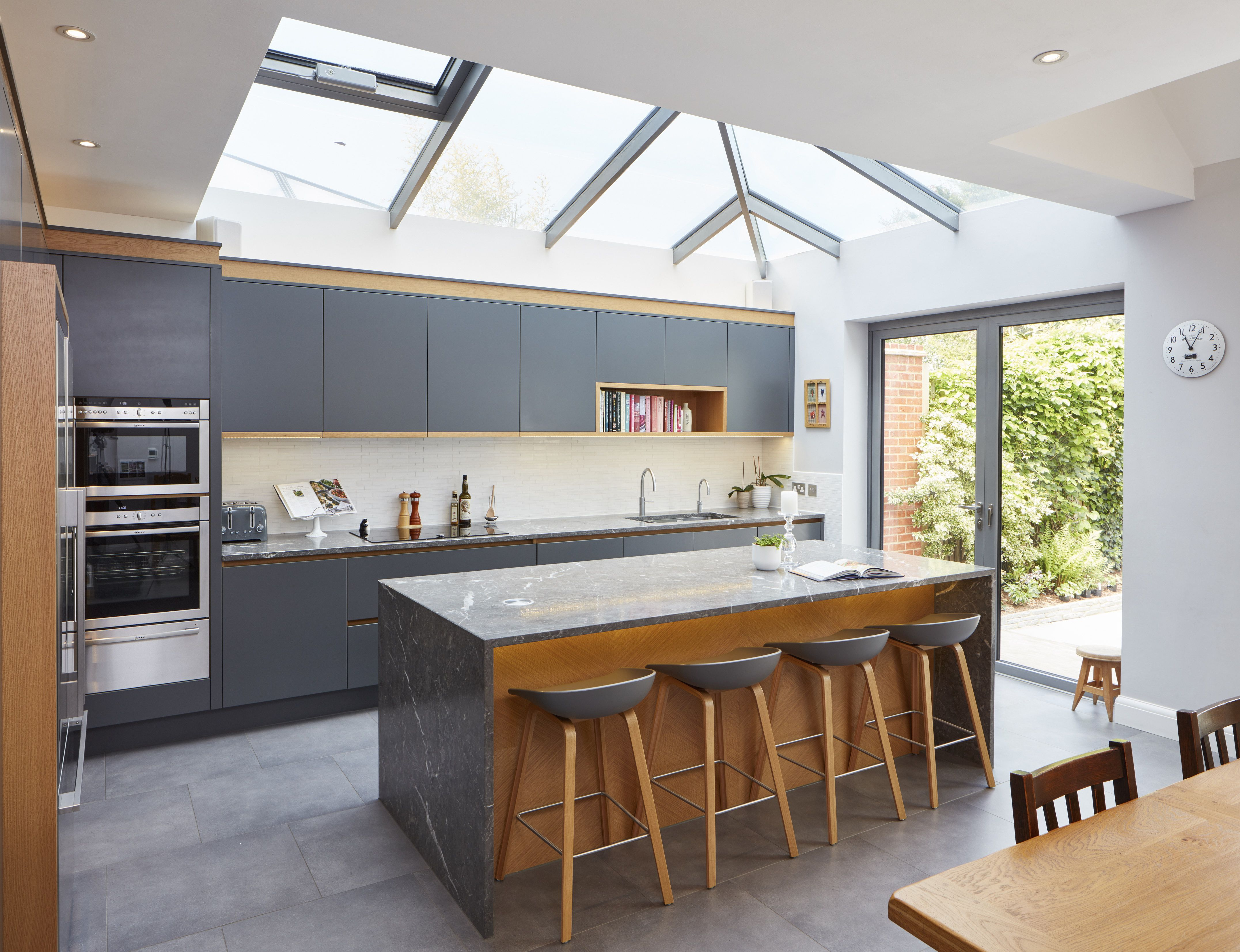 EXTREME Contemporary Grey Kitchen With Marble Surfaces