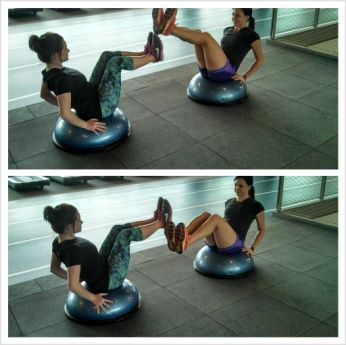 vsit bosu w/ leg circles sit facing a partner lean back