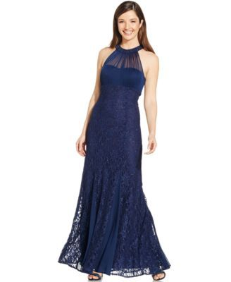 3cf20e9e847a Nightway Petite Illusion Lace Halter Gown