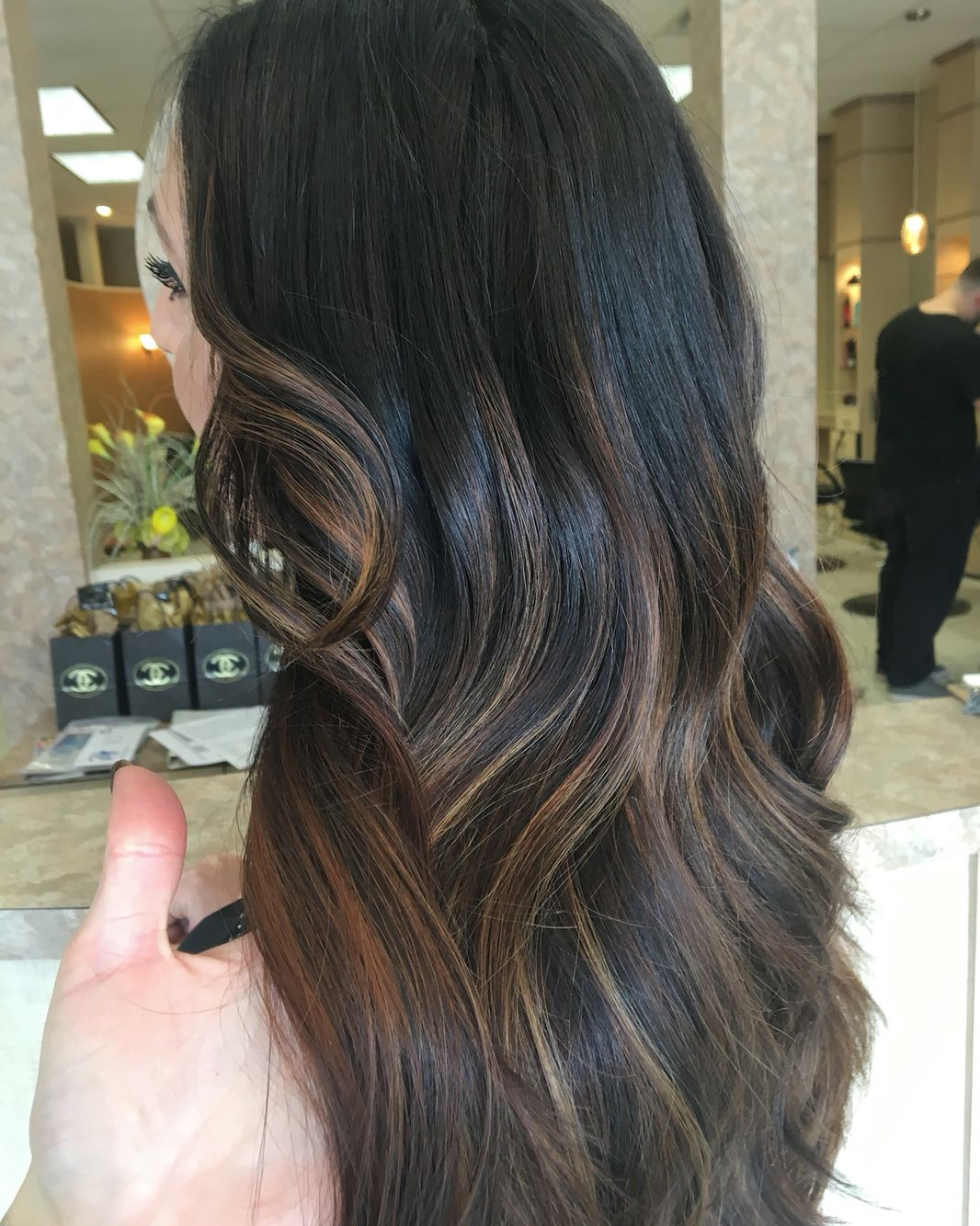 Long Hair Layers Dark Root Sombre Balayage Hand Painted Brown Caramel Highlights Hairbynickyz Ig Hairbynickyz Layered Hair Long Hair Styles Long Layered Hair