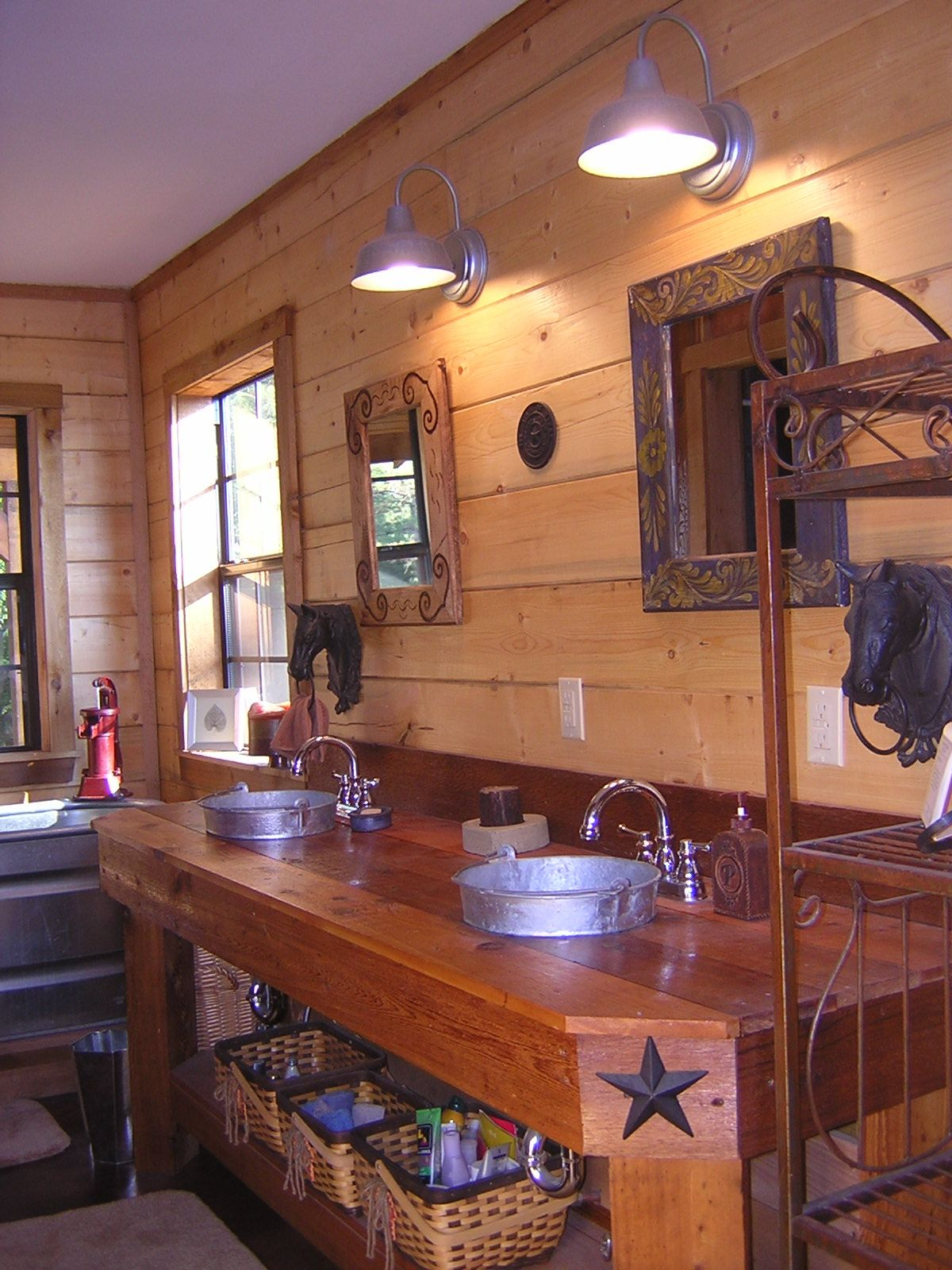 Pin By Lynette Patterson On Log Home Decor Rustic Bathrooms His And Hers Sinks Bathroom Red