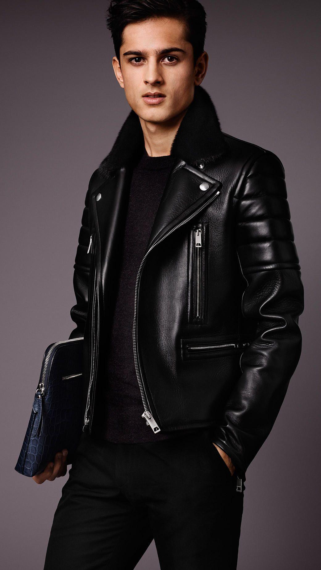 Nappa Leather Biker Jacket With Mink Topcollar Burberry Leather Jacket Leather Jacket Men Jackets Men Fashion [ 1849 x 1040 Pixel ]