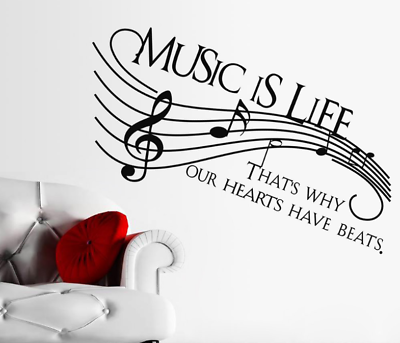 Details about Music Life Heart Beats Symbol Note Wall Art Stickers Decals Vinyl Home Room Deco