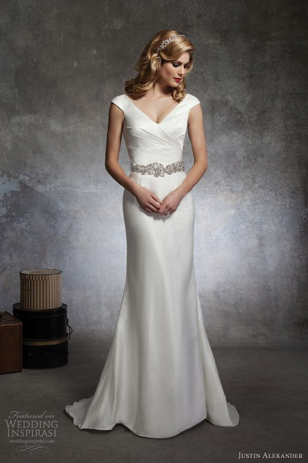 justin alexander bridal spring 2013 cap sleeve wedding dress. Its vintage, elegant, hollywood, I could wear a bra with it, shows defined waist and curve.  I love the models hair and the bling head band.