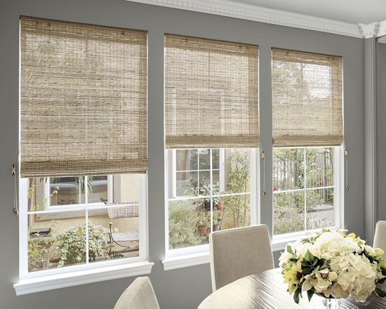Inside mount natural woven waterfall shades custom bamboo blinds