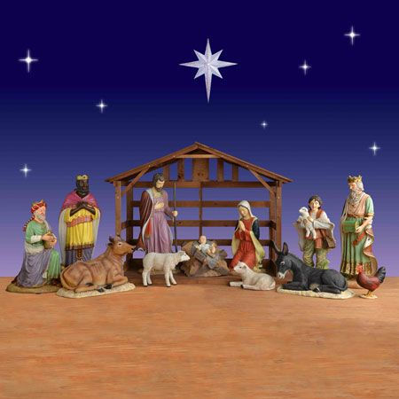 Nativity Set With Stable Nativity Set Outdoor Nativity Outdoor Christmas