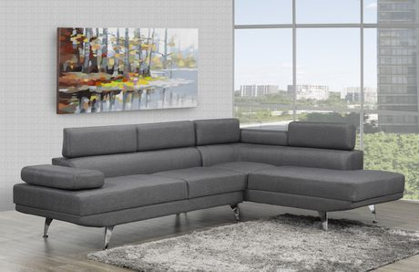 Brassex Inc Aria Sectional With Adj Arms Back Grey Grey Sectional Sofa Home Decor Reclining Sectional