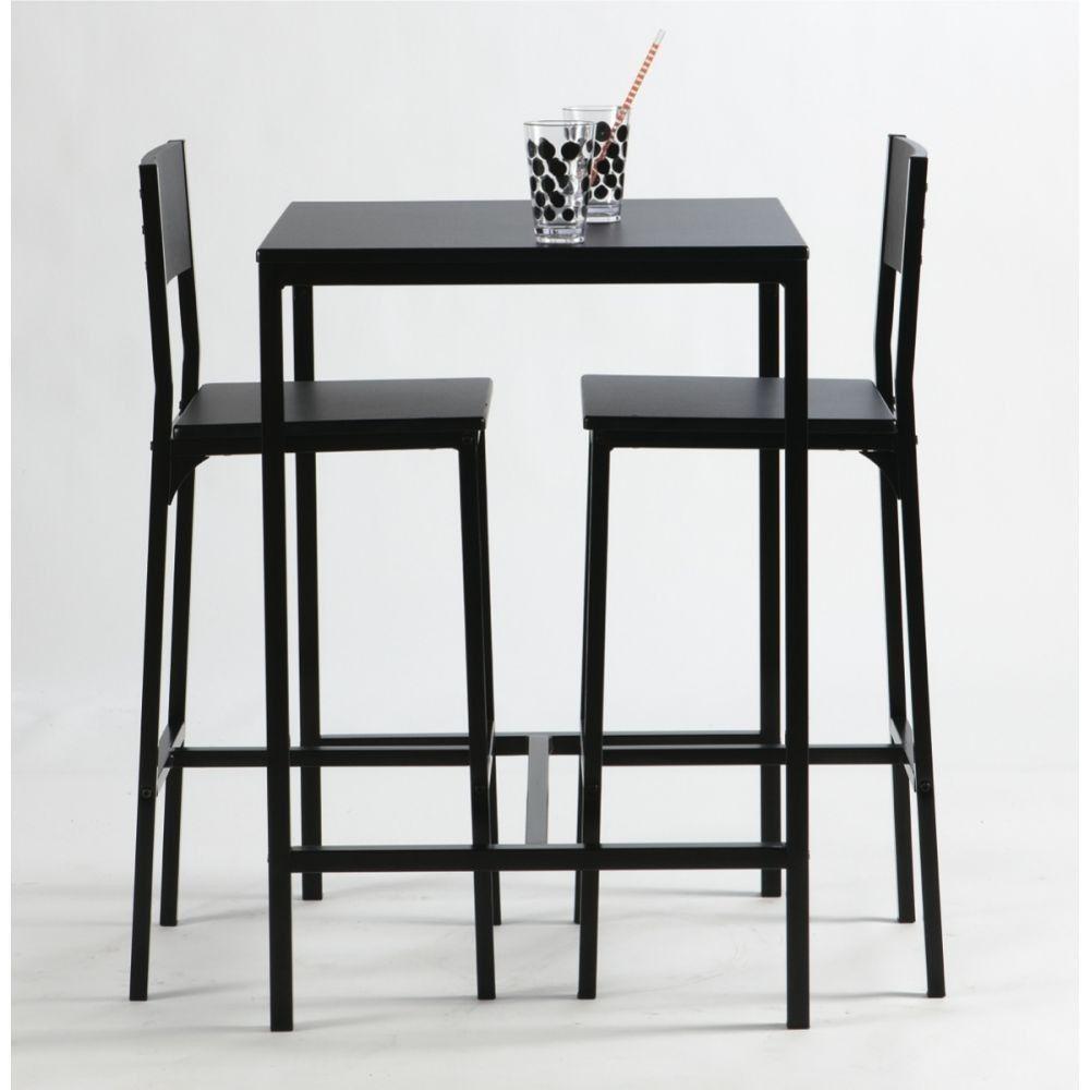 113€ set 1 table haute et 2 tabourets de bar Daiquiri noir Set 1 ...