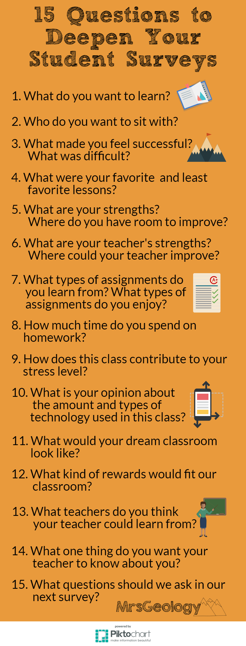 15 Questions to Deepen Your Student Surveys Infographic from MrsGeology. Find out why these are my favorite questions to ask students!
