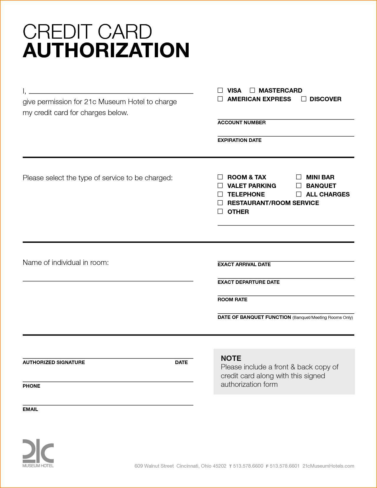 Free Printable Credit Card Authorization Form Blank Pin In Hotel