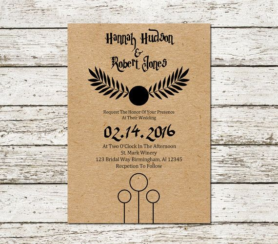 harry potter wedding invitation kraft paper by sweetteaandacactus - Harry Potter Wedding Invitations