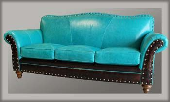 Albuquerque Turquoise Leather Sofa Western Sofas And Loveseats