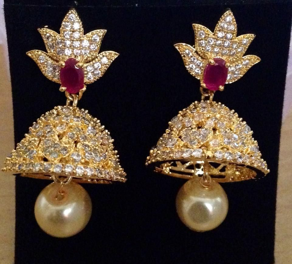 CZ and ruby stones jhumkas with pearl drop Size 1.3 inch