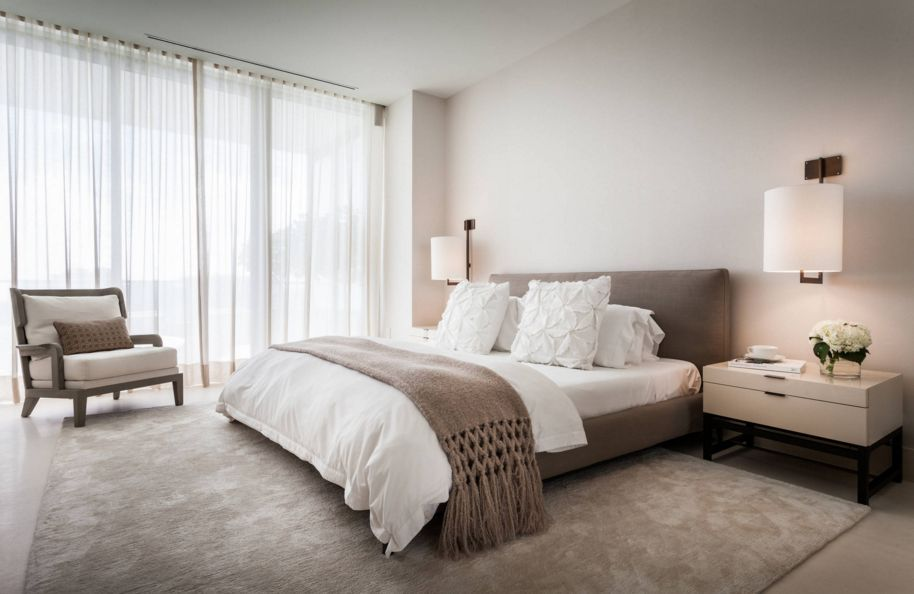 Minimalist Taupe Bedroom Design With A Low Bed