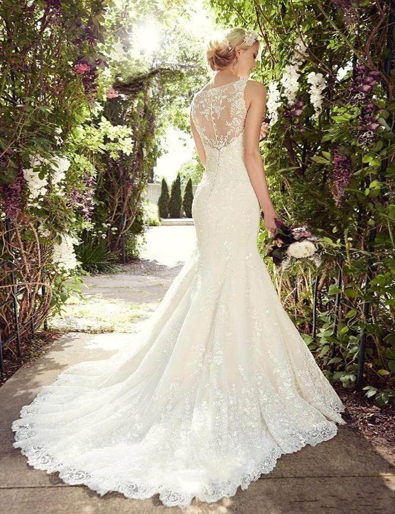 Name brand wedding dresses  Charming Long Lace Mermaid Wedding Dresses V Neck Sheer Back Beads
